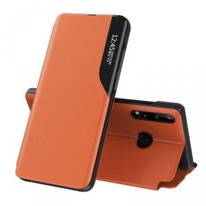 Eco Leather View Case elegancki futerał etui z klapką i funkcją podstawki Huawei P40 Lite E pomarańczowy