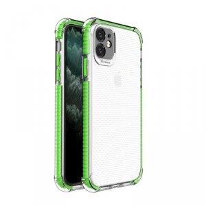 Spring Armor żelowy elastyczny pancerny pokrowiec z kolorową ramką do iPhone 11 zielony