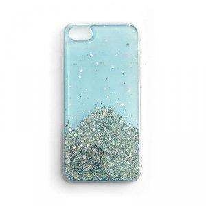 Star Glitter błyszczące etui pokrowiec z brokatem iPhone SE 2020 / iPhone 8 / iPhone 7 niebieski