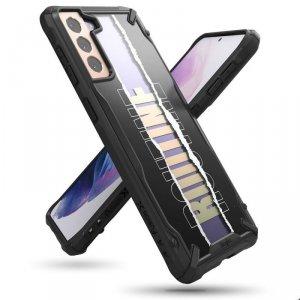 Ringke Fusion X Design etui pancerny pokrowiec z ramką Samsung Galaxy S21 5G czarny (Routine) (XDSG0051)