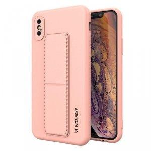 Kickstand Case elastyczne silikonowe etui z podstawką iPhone XS / iPhone X różowy