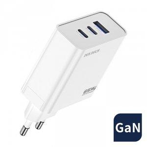 Dux Ducis C90 GaN szybka ładowarka sieciowa PPS 65W USB / 2x USB Typ C Quick Charge 3.0 Power Delivery FCP AFC (azotek galu) bia