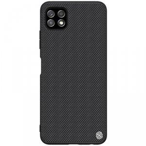 Nillkin Textured Case wytrzymałe wzmocnione etui z żelową ramką i nylonem na tyle Samsung Galaxy A22 5G czarny