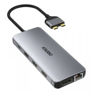 Choetech 12w1 wielofunkcyjny HUB 2x USB Typ C - USB Typ C Thunderbolt 3 100W / 2x HDMI + 1x DisplayPort 4K@60Hz / 2x USB 3.2 Gen