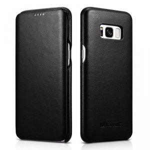 iCarer Leather Folio etui z naturalnej skóry z klapką do Samsung Galaxy S8+ (S8 Plus) czarny (RS991002-BK)