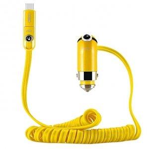 Ładowarka samochodowa REMAX CUTIE RCC211 2.4A żółta TYP C + IPHONE 5/6