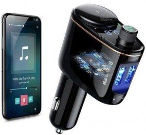 Ładowarka samochodowa 2xUSB / Transmiter FM Baseus+Bluetooth+MP3 czarna Locomotive CCALL-RH01