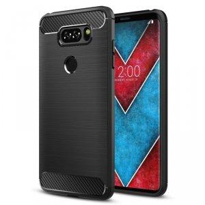 Carbon case elastyczne etui pokrowiec LG Q60 czarny