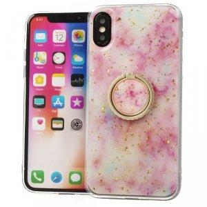 Etui IPHONE X / XS Marble Ring jasny róż