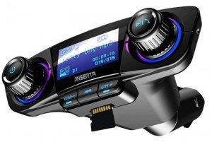 Transmiter FM (Bluetooth + USB + Czytnik Kart Pamięci SD + AUX) z Wyświetlaczem BT06 czarny
