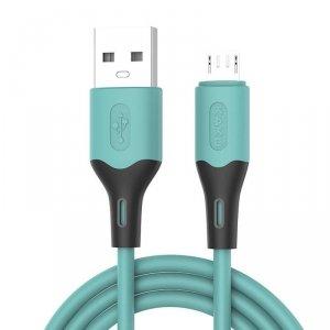 Kabel 3,2A 1m Micro USB Ładowanie i Przesył Danych KAKU Skin Feel Charging Data Cable MicroUSB (KSC-393) turkusowy