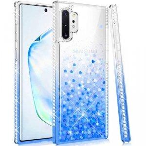 Etui SAMSUNG GALAXY S21+ PLUS Diamond Liquid Przelewany Brokat niebieskie
