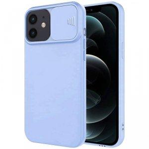 Etui IPHONE 12 Silikonowe z Osłoną na Aparat Nexeri Silicone Lens jasny niebieski