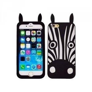 Silikon 3D iPhone 6/6S Zebra różowy