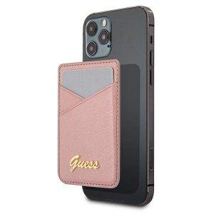 Etui Guess Wallet Card Slot GUWMSSASLPI MagSafe Saffiano różowy/pink