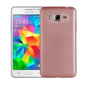 Etui Carbon Fiber Samsung J3 J320 2016 rózowo-złoty /rosegold