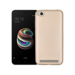Etui Carbon Fiber Xiaomi Note 5A złoty /gold cut for finger print