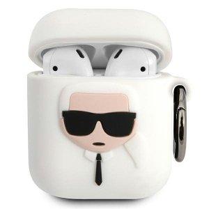 Karl Lagerfeld KLACCSILKHWH AirPods cover biały/white Silicone Ikonik