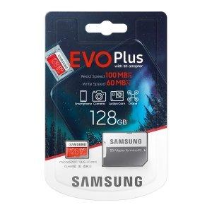 Karta pamięci Samsung EVO Plus 128GB microSD + adapter 10 class MB-MC128HA/EU