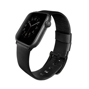 UNIQ pasek Mondain Apple Watch Series 4/5/6/SE 44mm. Geniune Leather  czarny/midnight black