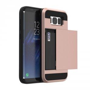 Dual Rugged Case Card Slide - Pancerne etui - Samsung Galaxy J5 2016 J510 (rose gold) + szkło hartowane