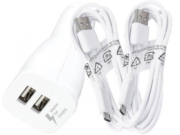 Szybka oryginalna ładowarka samochodowa FAST CHARGING Samsung EP LN920 2xUSB + 2 kable micro USB 1,5m do NOTE 4 S6 S6 EDGE S7 S7 EDGE (biała)
