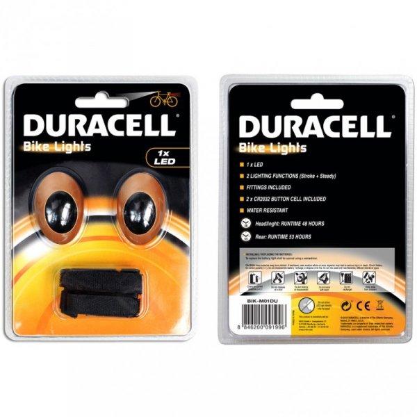 Zestaw lampek rowerowych Duracell Front+Rear 1 Led 00919