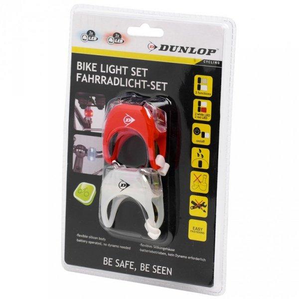 Zestaw Lampek Rowerowych Dunlop Duracell Front+Rear 2 Led  41792