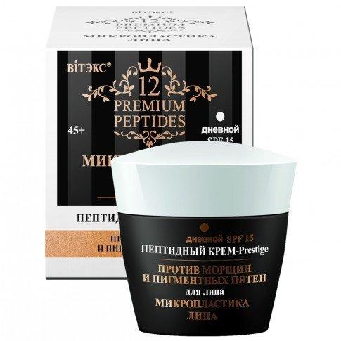 Peptydowy Przeciwzmarszczkowy Krem-Prestige na Dzień SPF15, Premium Peptides  45ml.