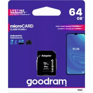 Pamięć MicroSD GOODRAM 64GB MicroSDXC CL10 UHS I + adapter M1AA-0640R12