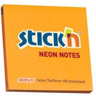 """Bloczek STICK""""N 76x76mm pomarańczowy neonowy 100k 21164 STICK""""N"""