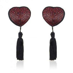Bielizna-Heart shine nipples tassels (rosso)