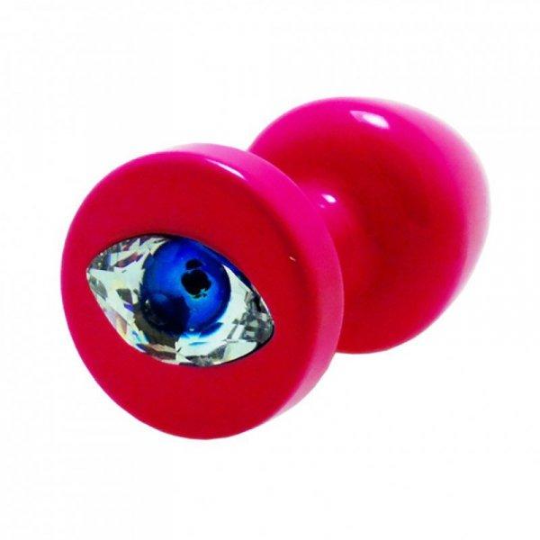 Korek analny ozdobny - Diogol Anni R Eye Pink Crystal Pink 25 mm