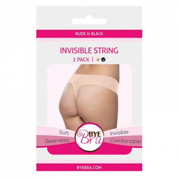 Niewidzialne stringi - Bye Bra Invisible String (Nude & Black 2-Pack) L