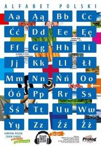 Plakat Alfabet polski. Polski dla obcokrajowców. Plakat składany