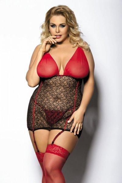 Yammy czarno-czerwona halka XL+