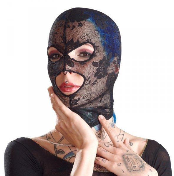 Koronkowa maska BK z otworami na oczy i usta