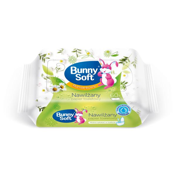 Nawilżany papier toaletowy Bunny Soft 60szt