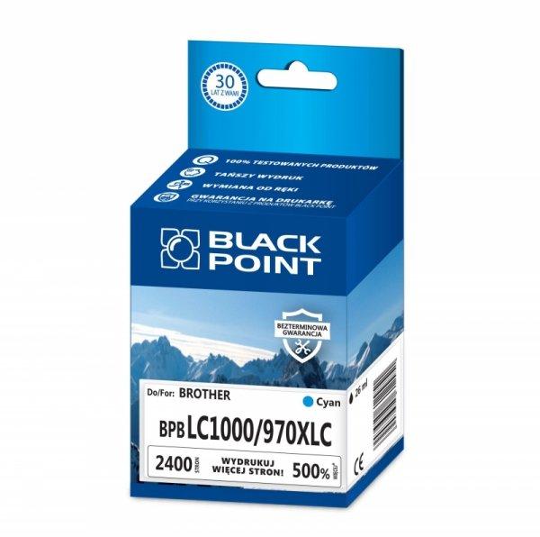 Black Point tusz BPBLC1000/970XLC zastępuje Brother LC1000/970C, niebieski