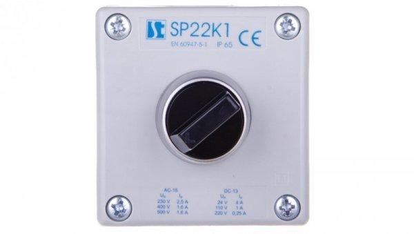 Kaseta sterownicza 1-otworowa pokrętło dwupołożeniowe IP65 przepust PG-G20W01 szara SP22K106-2