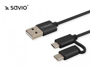 Elmak Kabel USB 2w1 USB typ C/micro, 2.1A, 1m SAVIO CL-128