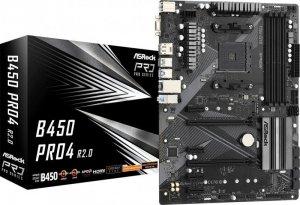 ASRock Płyta główna B450 PRO4 R2.0 AM4 4DDR4 DP/HDMI M.2 USB3.2 ATX
