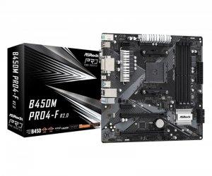 ASRock Płyta główna B450M PRO4-F R2.0 AM4 4DDR4 DVI/HDMI/VGA M.2