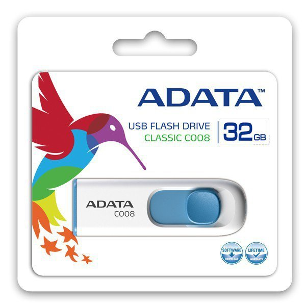 Adata Pendrive  DashDrive Classic C008 32GB USB2.0 biało- niebieskie