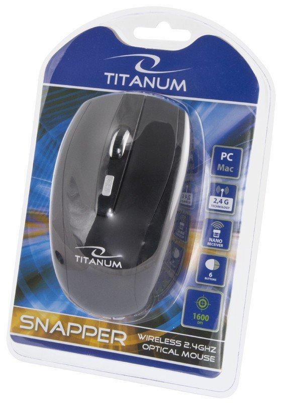Esperanza Mysz Titanum SNAPPER TM105K, Bezprzewodowa 2.4GHz, DPI 1000/1600, 6 przycisków, NANO odbiornik