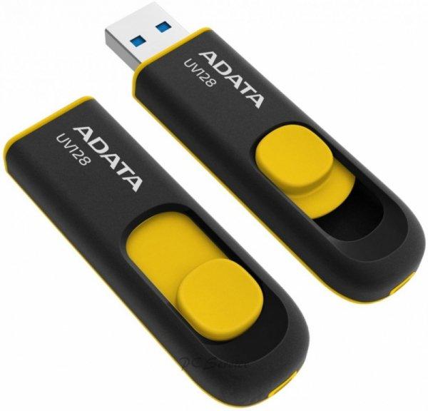 Adata Pendrive  DashDrive UV128 32GB USB 3.2 Gen1 czarno - żółty