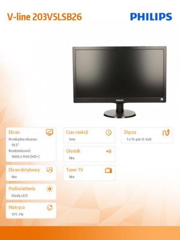 Philips Monitor 19.5 203V5LSB26/10 LED Czarny