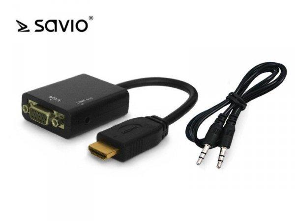 Elmak Adapter HDMI (M) - VGA 15 pin (F) z dźwiękiem (jack 3,5mm), SAVIO CL-23, blister