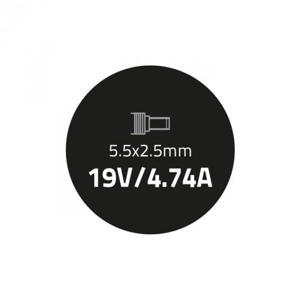 Qoltec Zasilacz 90W | 19V | 4.74A | 5.5*2.5