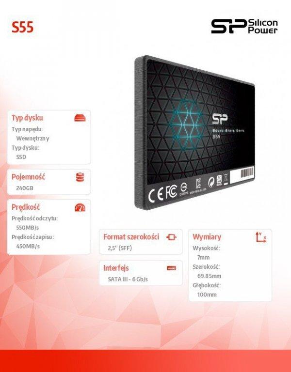 "Silicon Power Dysk SSD Slim S55 240GB 2,5"" SATA3 550/450 MB/s 7mm"